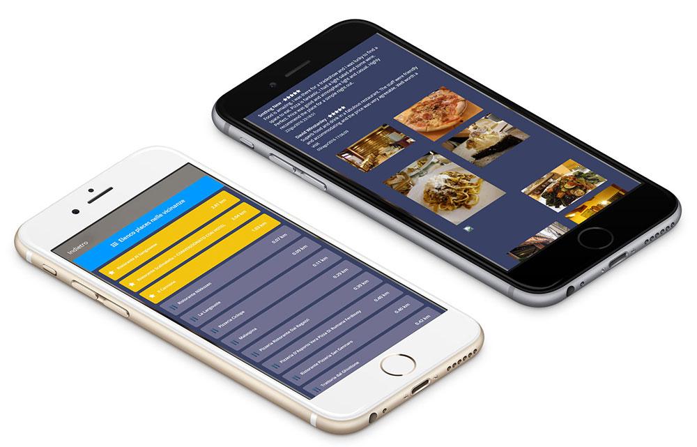 Due iPhone stesi con visualizzato il widget Places di Wi-Fi hotel in dettaglio.
