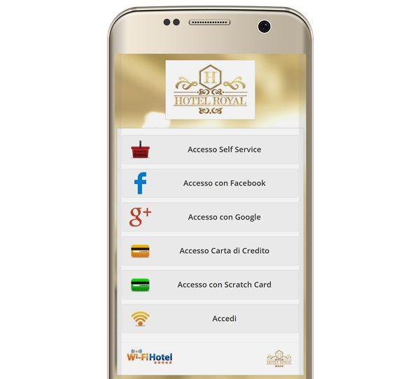 Smartphone su cui è visualizzata la pagina di accesso degli utenti (Portal Page) del software hotspot Wi-Fi Hotel.