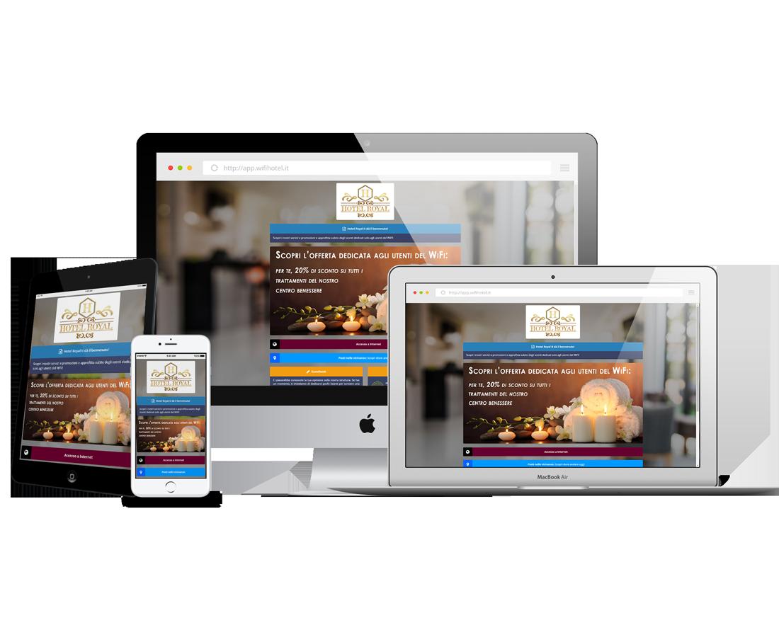 La Pagina di Benvenuto di Wi-Fi Hotel visualizzata su più dispositivi.