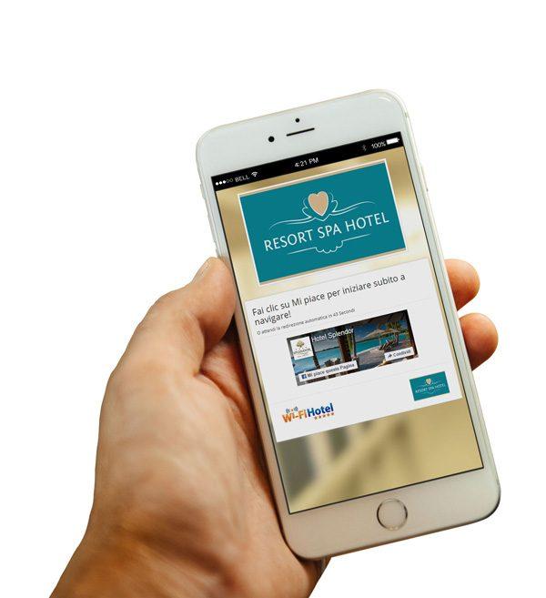 Il Social WiFi del software hotspot Wi-Fi Hotel visualizzato su uno smartphone Apple.