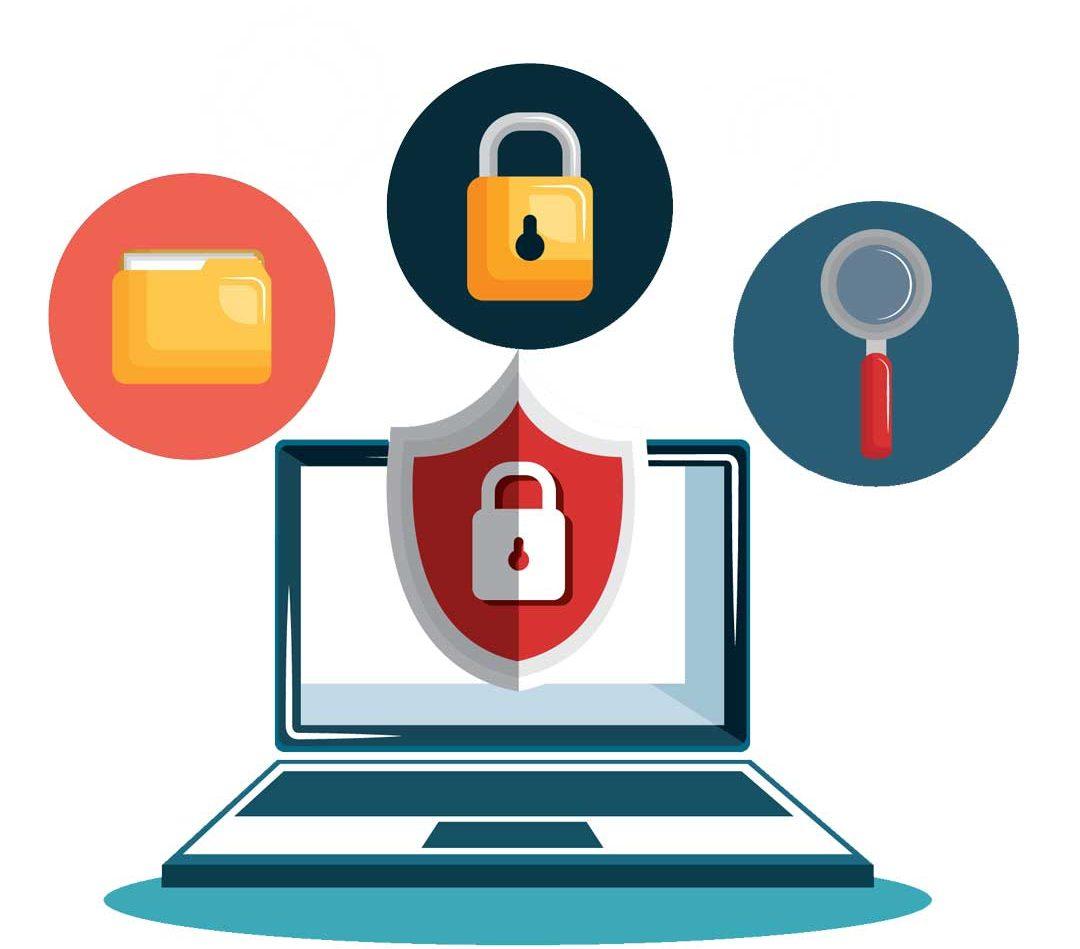 Immagine flat che raffigura un PC con sopra icone relative alla sicurezza di documenti e reti wireless.