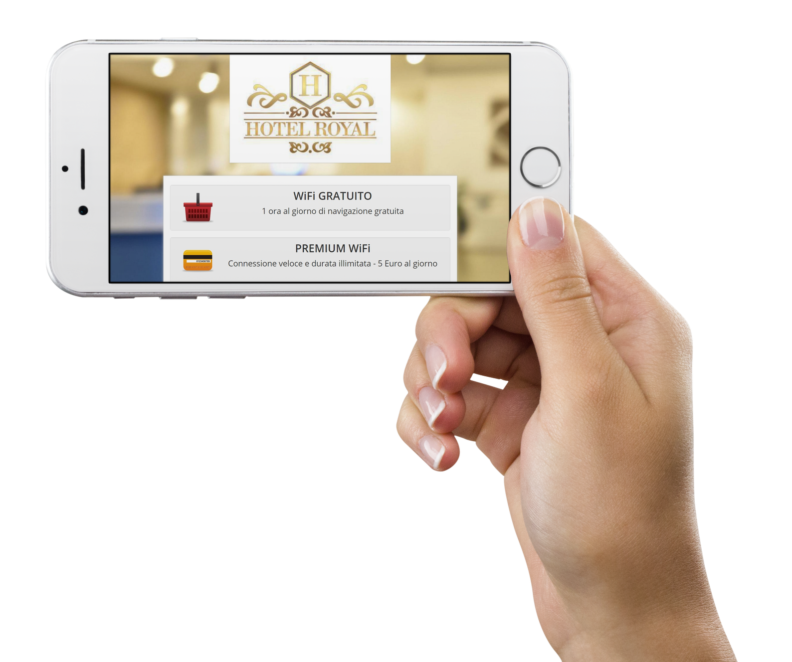 Una mano sostiene un iPhone su cui è visualizzata la pagina di accesso a Internet di Wi-Fi Hotel.
