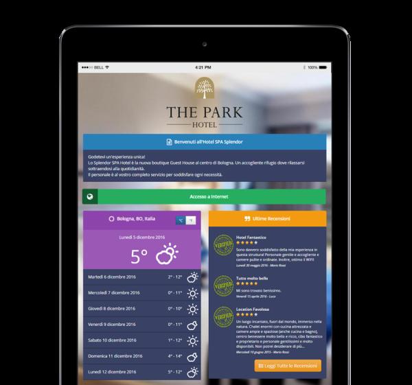 Un tablet con visualizzata una pagina di benvenuto (Guest Portal) di Wi-Fi Hotel, il software hotspot.