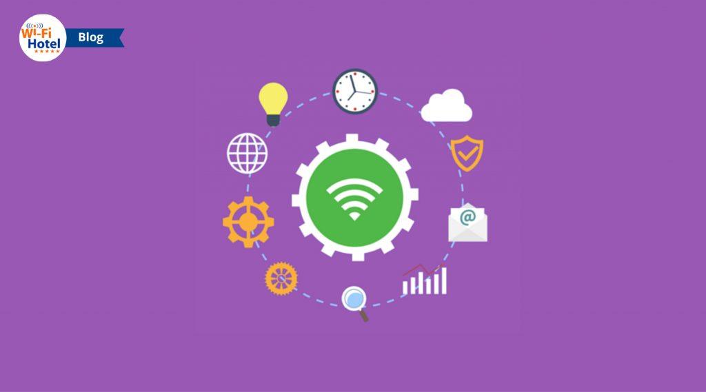 Illustrazione contenente icone relative al WiFi e ai problemi WIFi in hotel.