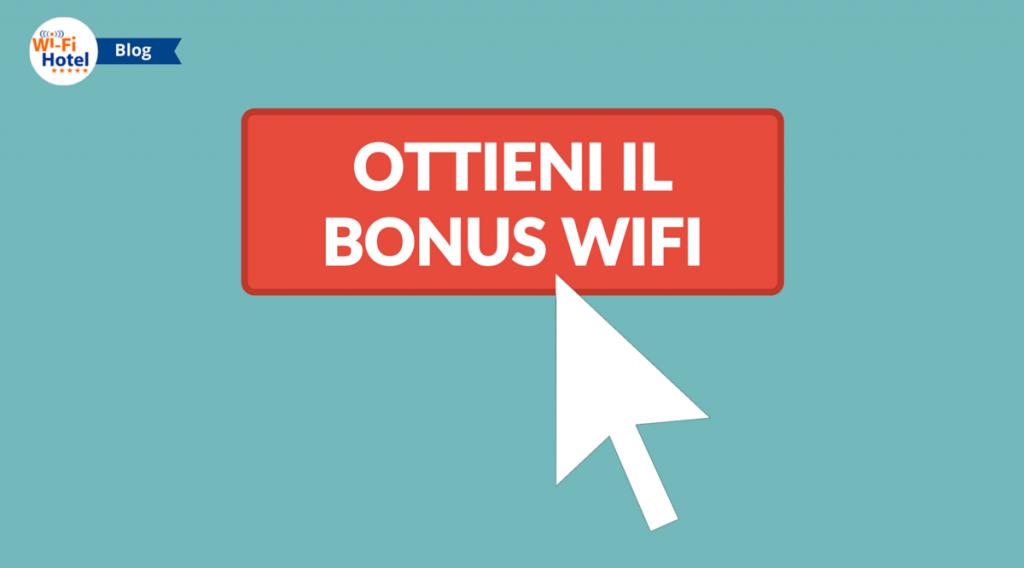 """Un pulsante web con la call to action """"Ottieni il bonus digitalizzazione WiFi"""" e una freccia del mouse che sta per cliccarlo."""