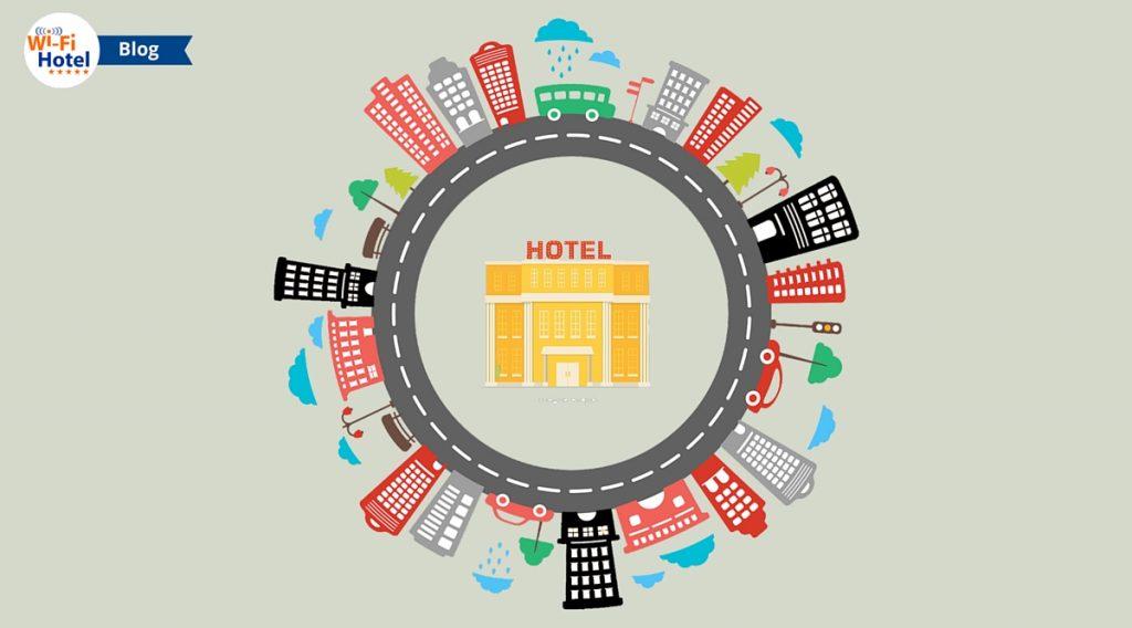 Immagine flat di un hotel posto nel centro di una città.