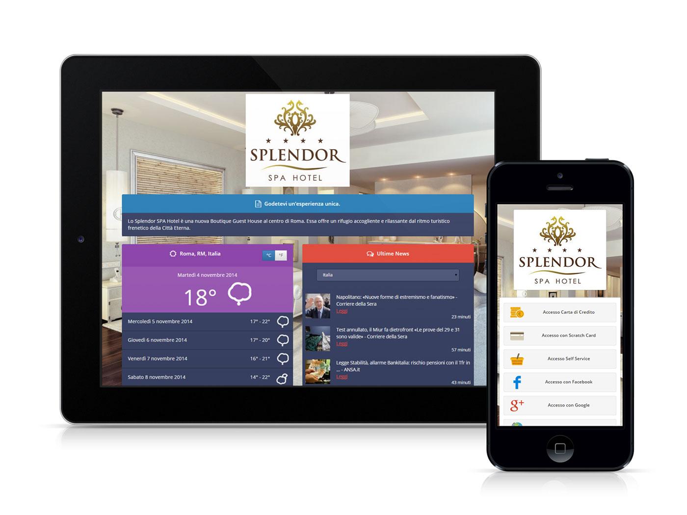 Un tablet e uno smartphone raffiguranti la splash page di Wi-Fi Hotel 3.0