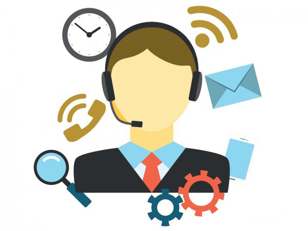 Illustrazione in flat design di un operatrice di assistenza tecnica telefonica.