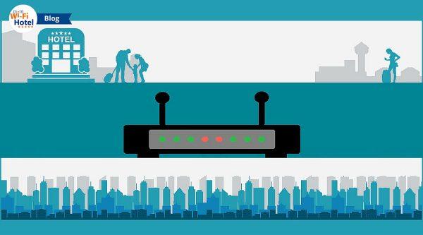 Immagine suddivisa in 3 fasce che mostra icone di hotel, una skyline cittadina e un router.