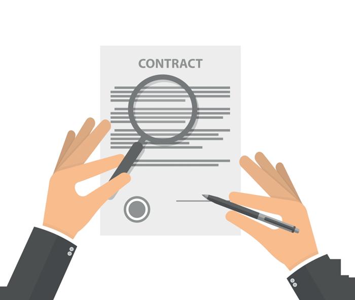 Illustrazione in flat design di un un contratto firmato per l'acquisto di un impianto wifi per hotel..