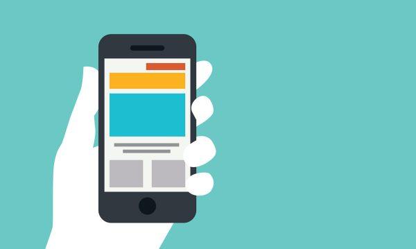 Immagine flat di una mano che mostra lo schermo di uno smartphone stilizzato.