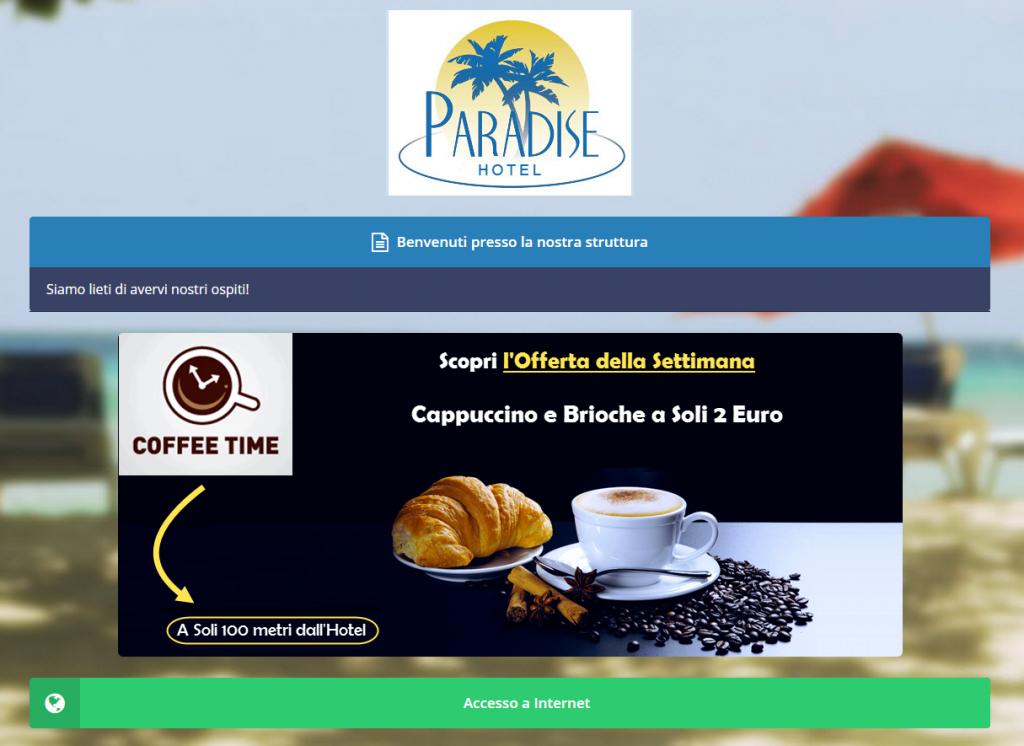Screenshot di un banner inserzionista pubblicato sul Guest Portal, la pagina di benvenuto di Wi-Fi Hotel.