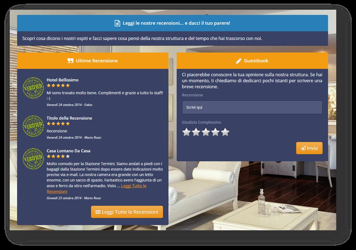 Screenshot raffigurante il GuestBook di Wi-Fi Hotel 3.0.
