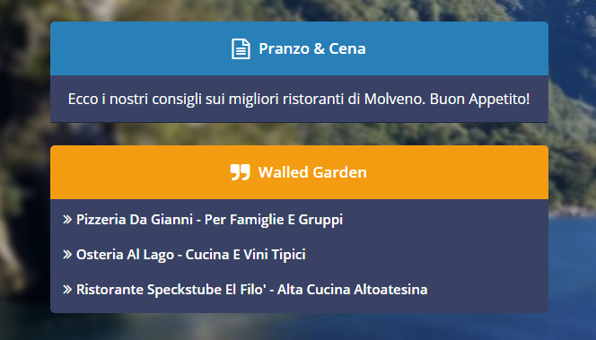 Screenshot del Walled Garden sul Guest Portal, la pagina di benvenuto di Wi-Fi Hotel.