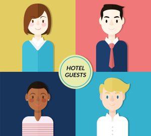 Immagine flat di persone normali, tipici ospiti di hotel.