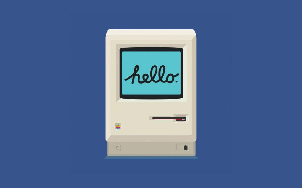 Un computer Macintosh prima versione disegnato in flat design.