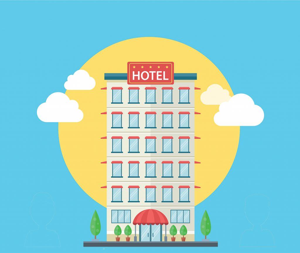 Immagine flat di un hotel visto dall'esterno.