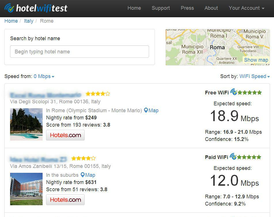 Schermata del sito Hotel WiFi test, con i voti sul servizio Wi-Fi assegnati agli hotel di Roma.