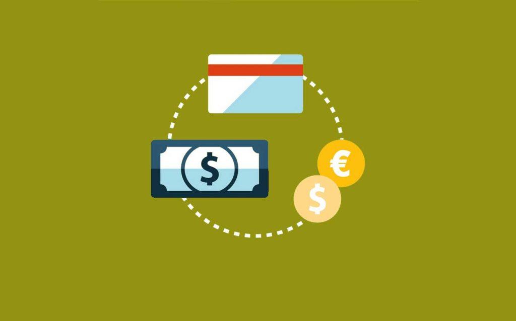 Immagine flat di banconote, carte di credito e monete.
