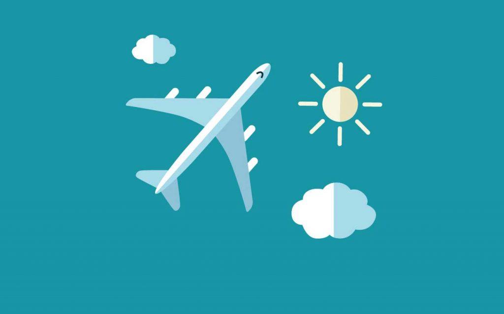 Immagine flat di un aereo nel cielo