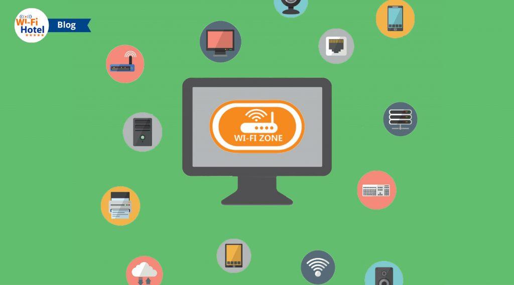 Immagine flat raffigurante icone di schermi, apparati e accessori che servono per allestire un impianto wifi per hotel.