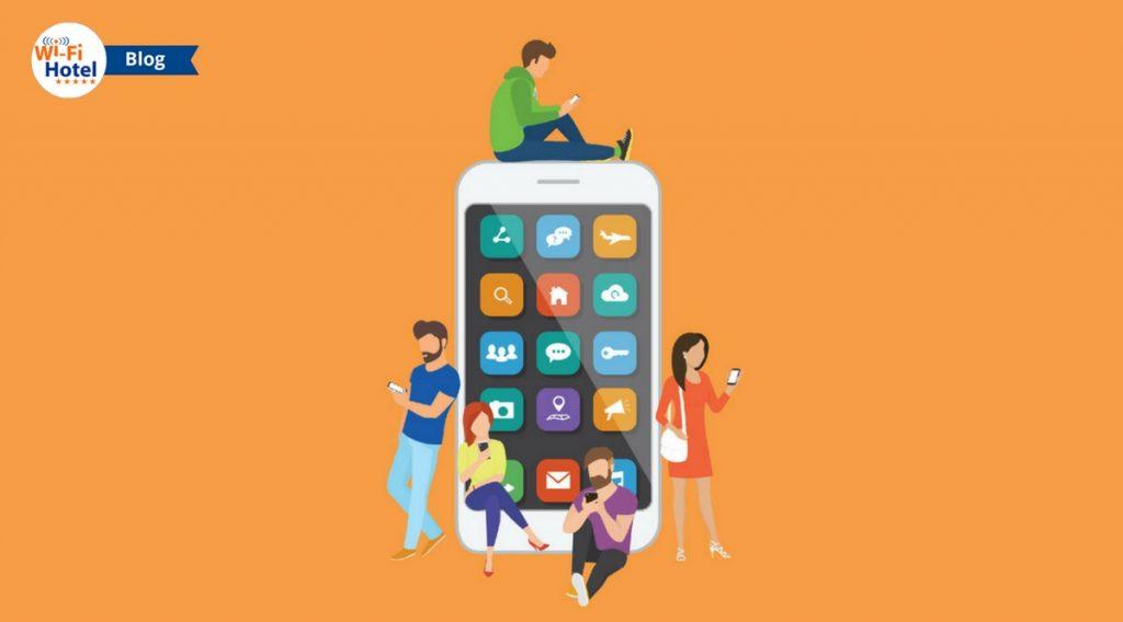 Immagine flat di un grande smartphone al quale sono appoggiati giovani utenti di dispositivi mobili.