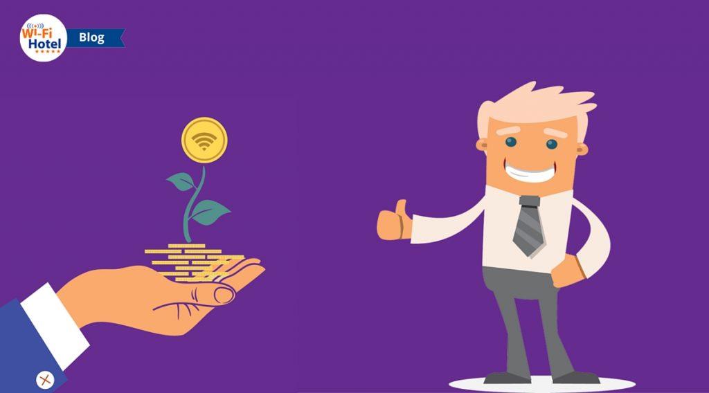 Una mano che sorregge una pianta di monete affiancata a un uomo che sorride con il pollice alzato.