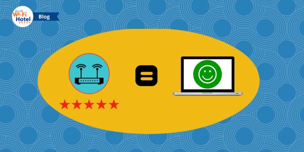 Raffigurazione di un buon servizio Wi-Fi in Hotel che si traduce in buone recensioni online.