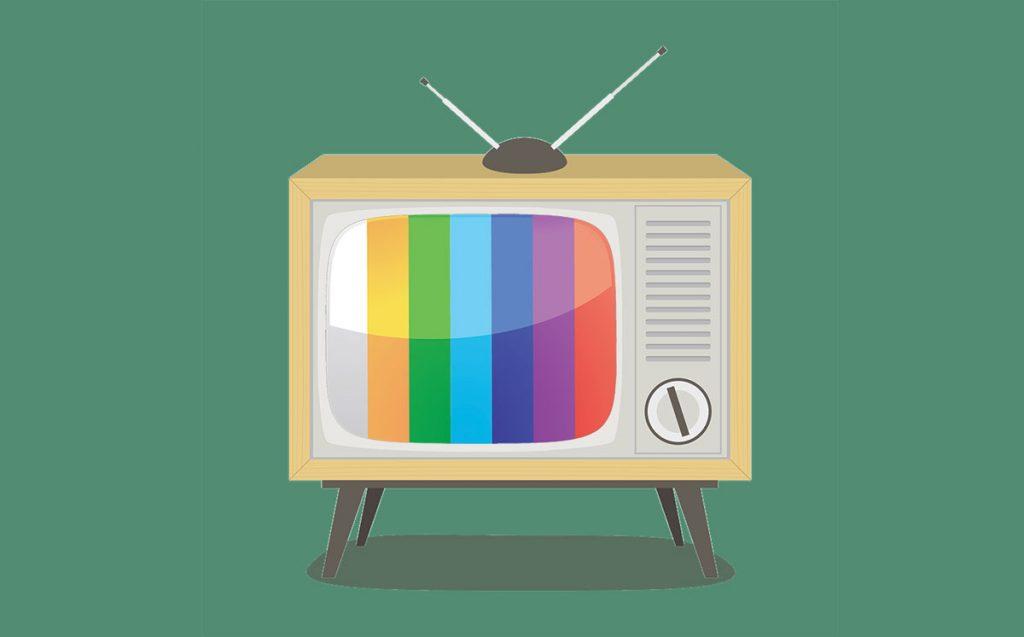 Un TV-color a tubo catodico stile anni '70.