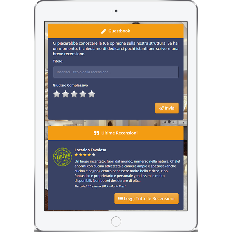 Immagine illustrativa del Guestbook di Wi-Fi Hotel visualizzato su un tablet.