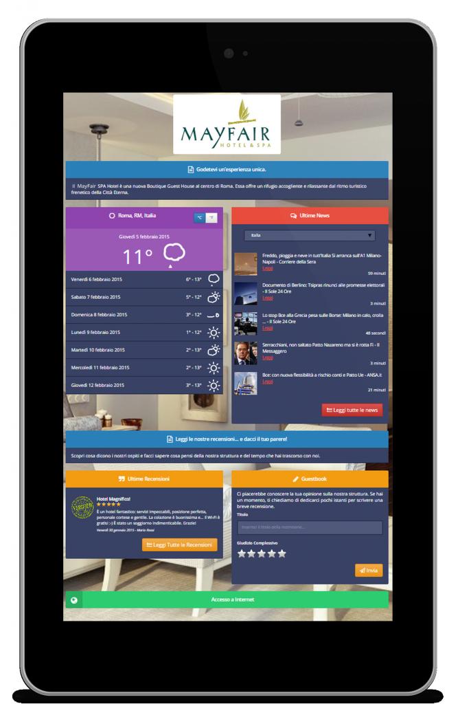 Tablet che visualizza la Pagina di Benvenuto di Wi-Fi Hotel.