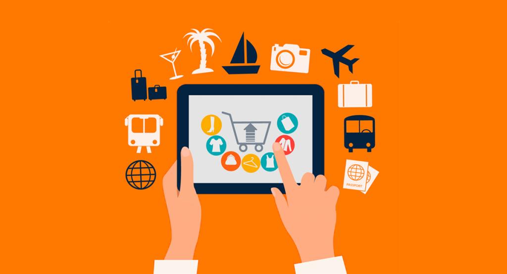Illustrazione flat di un tablet sul quale sono visualizzate icone e annunci pubblicitari.
