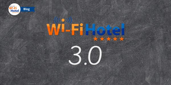 Il logo di Wi-Fi Hotel accanto al numero 3 scritti su una lavagna.