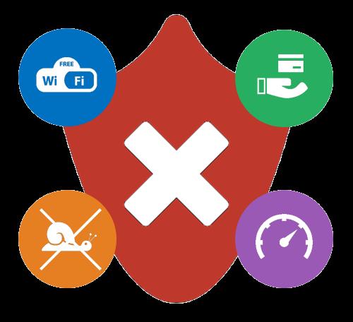 Immagine flat raffigurante il simbolo del Firewall circondato dal icone.