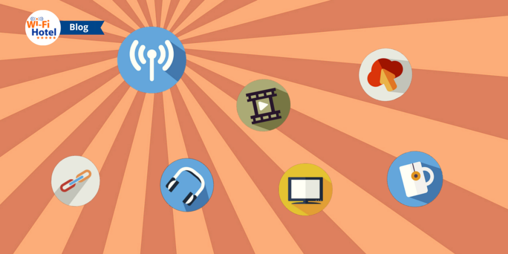 Icone Flat raffiguranti Wi-Fi, video, TV, cloud e altri servizi Internet che supportano il Wi-Fi Marketing.