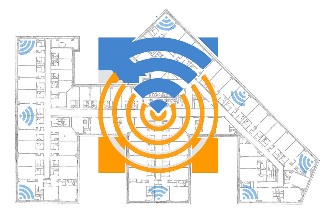 La planimetria di un hotel con segnalati gli access-pojnt WiFi.