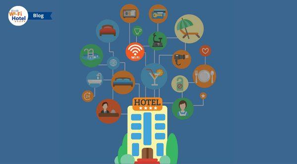Immagine flat raffigurante un hotel collegato ad icone di servizi di albergo. L'icona del WiFi per ospiti è posta in evidenza.