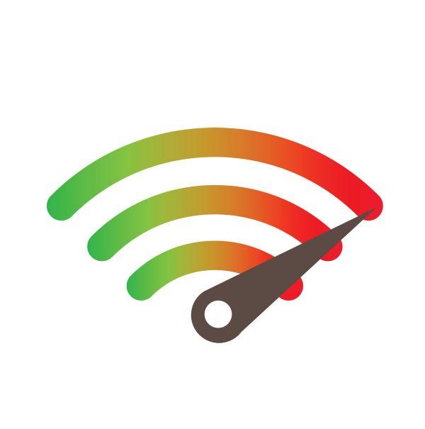 Un indicatore di velocità posizionato sopra al simbolo del wireless.