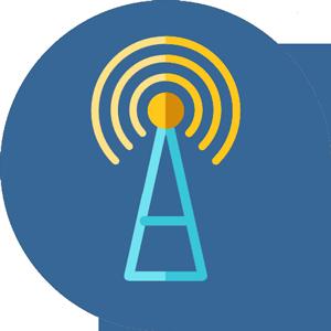 Icona flat di un antenna radio WIFi.