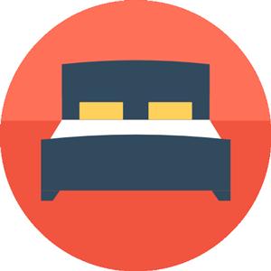 Icona flat di un letto di hotel.