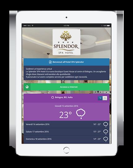 La pagina di benvenuto di Wi-Fi Hotel visualizzata su un iPad tablet.
