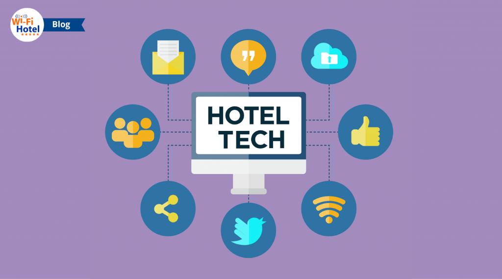 Icone flat riguardanti la tecnologia wifi per hotel.
