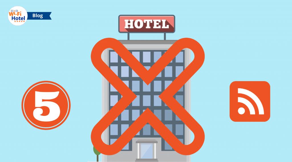 Immagine in flat design raffigurante un hotel eaffiancato dal numero 5 e dal simbolo degli errori nel servizio wifi per hotel.