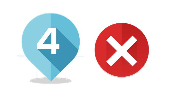 Icona del numero 4 eaffiancata dal simbolo degli errori nel servizio wifi per hotel.