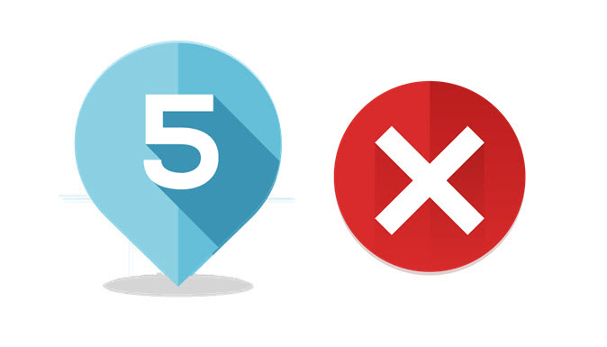 Icona del numero 5 eaffiancata dal simbolo degli errori nel servizio wifi per hotel.